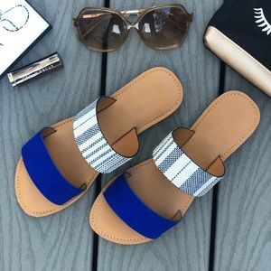 Shoes - BELLE Slip on Sandals - ROYAL BLUE